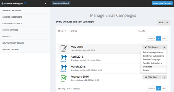 Mailing List Manage Campaigns