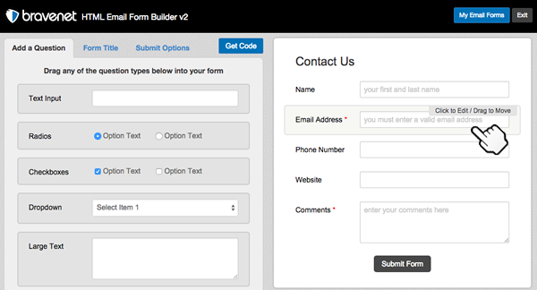 email forms builder